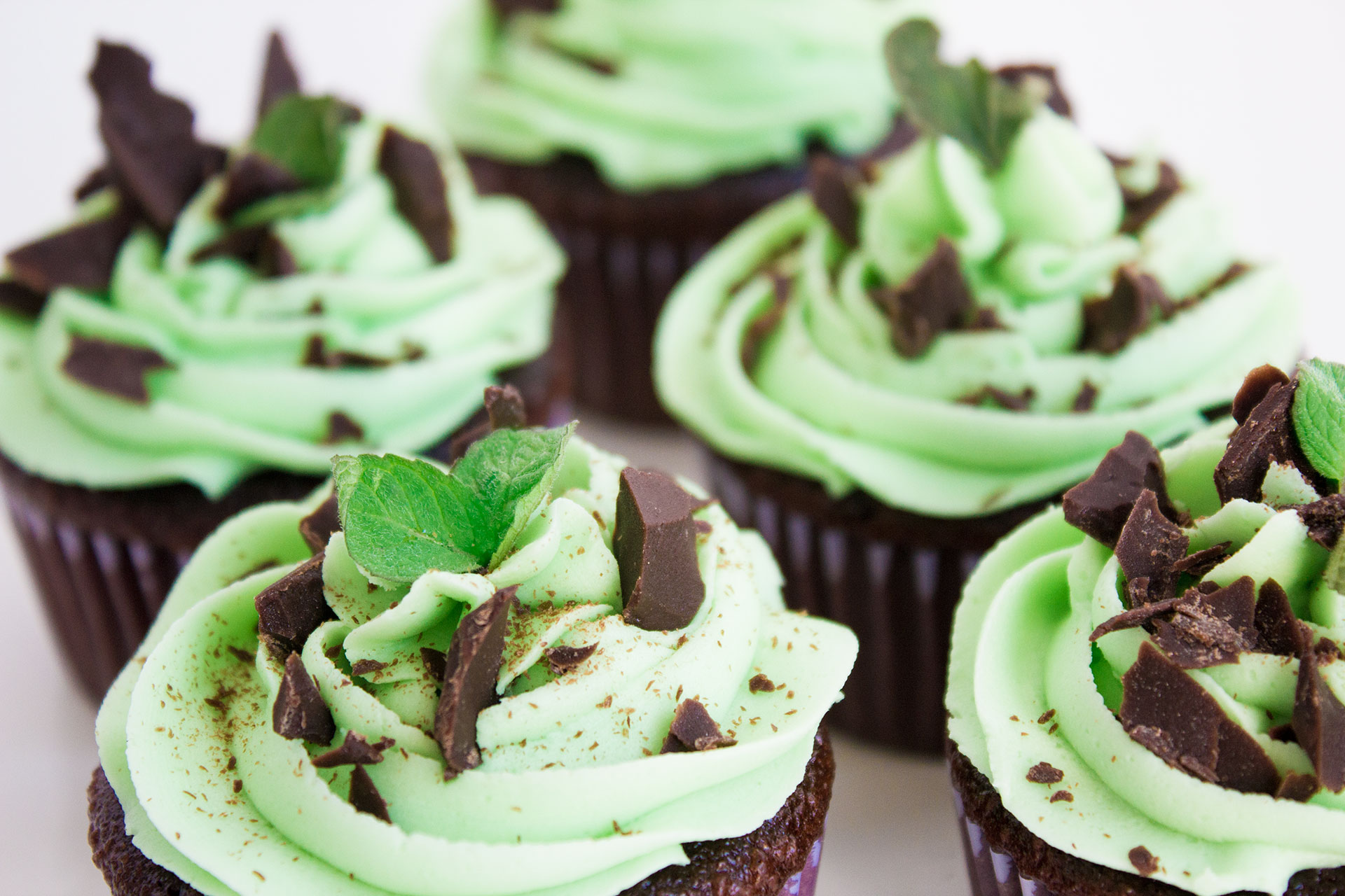 cupcakes de menta y chocolate