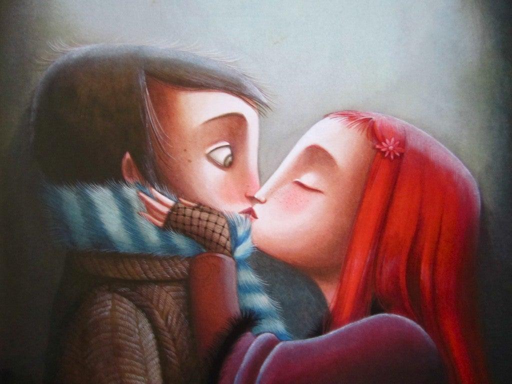 besos pareja pintura