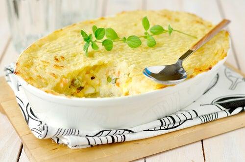 Pastel de pescado y verduras