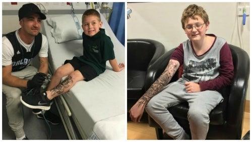 """El hombre que realiza """"tatuajes temporales"""" a niños enfermos para darles fortaleza"""